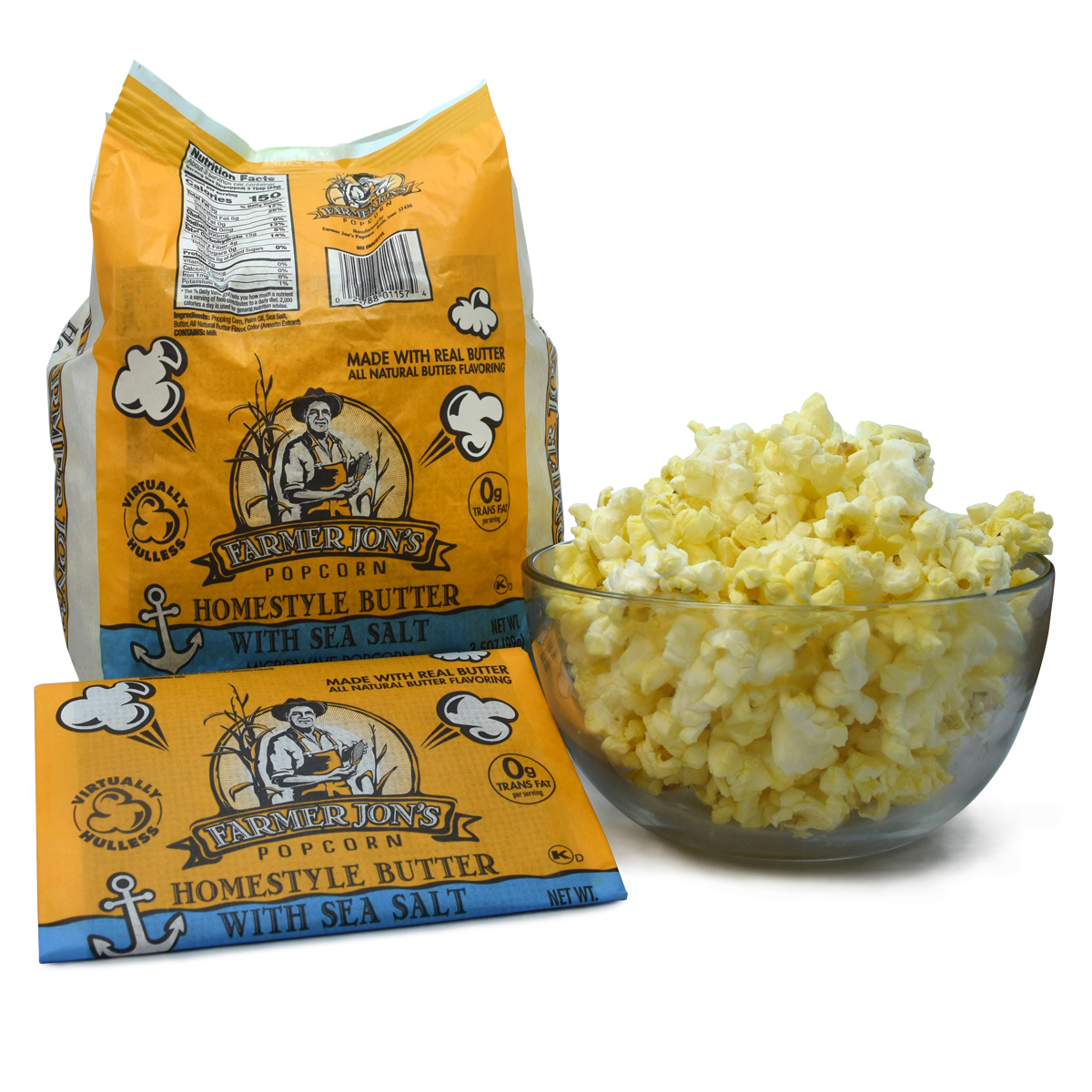 Homestyle Butter With Sea Salt 20pk Farmer Jon S Popcorn